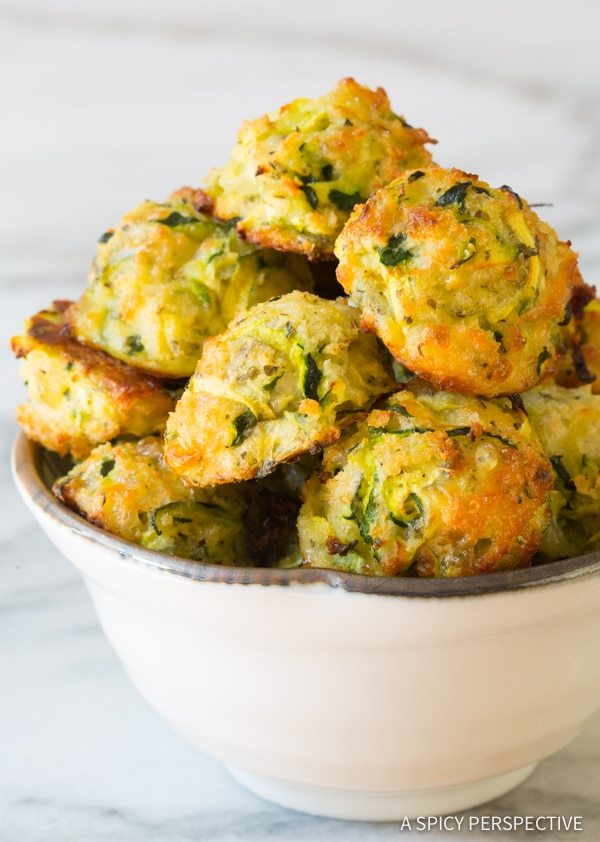 Healthy Baked Zucchini Tots from a Spicy Perspective