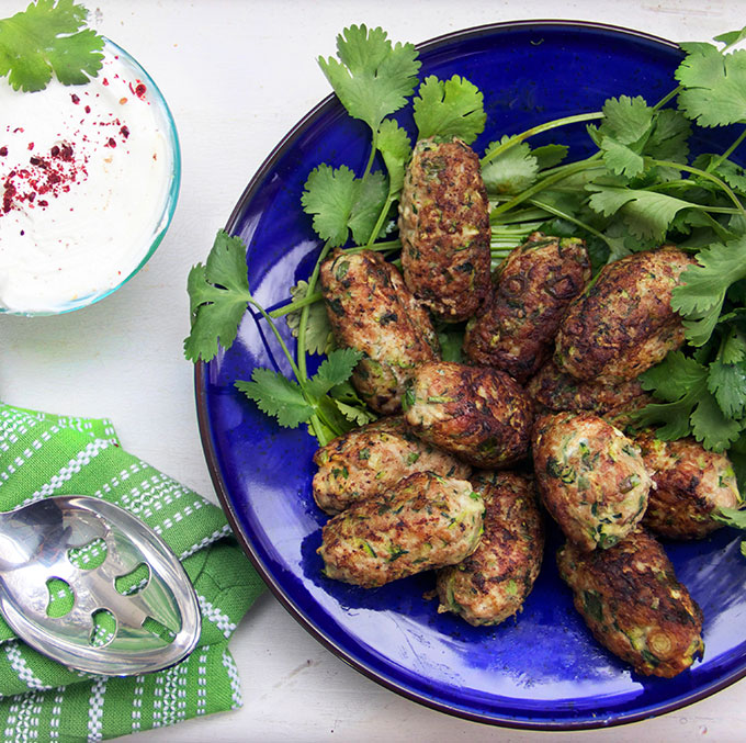 Turkey Zucchini Meatballs with Lemony Yogurt Sauce from Panning the Globe