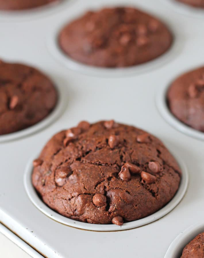 Gluten Free Chocolate Zucchini Muffins (Vegan) from Delightful Adventures