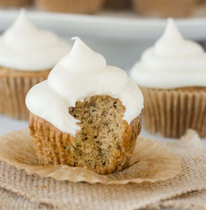 Zucchini Cupcakes with Cream Cheese Frosting from The Itsy Bitsy Kitchen