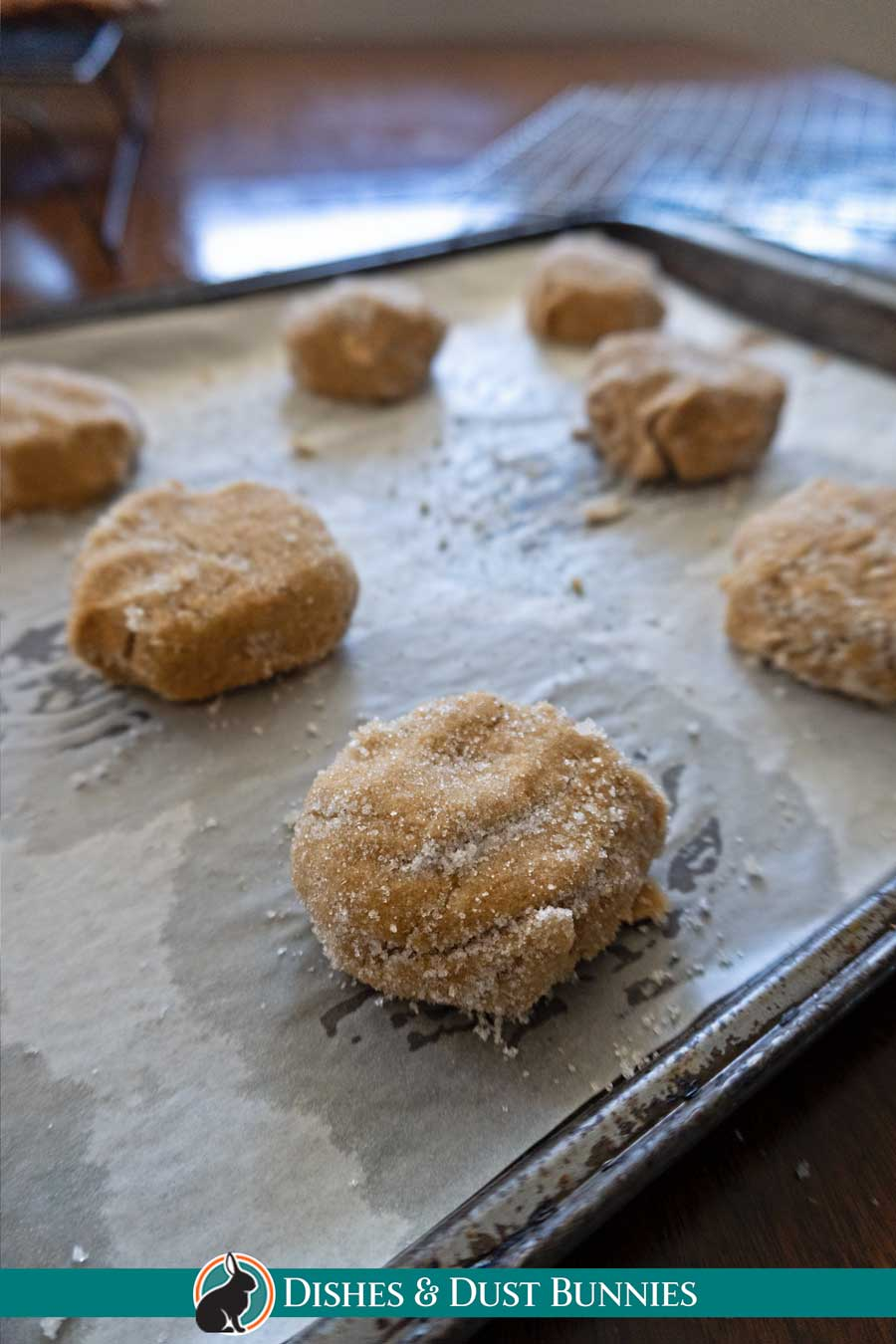 Ginger Sparkle Cookies - the dough on the baking sheet before baking