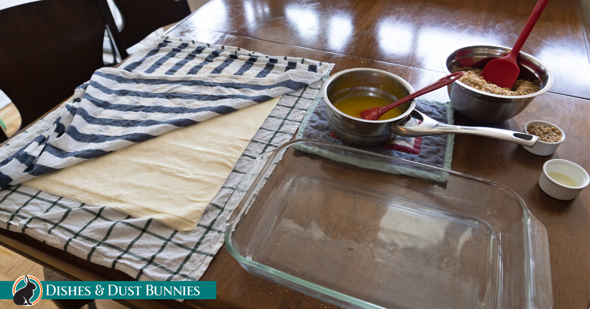 Homemade Baklava - table laid out with ingredients