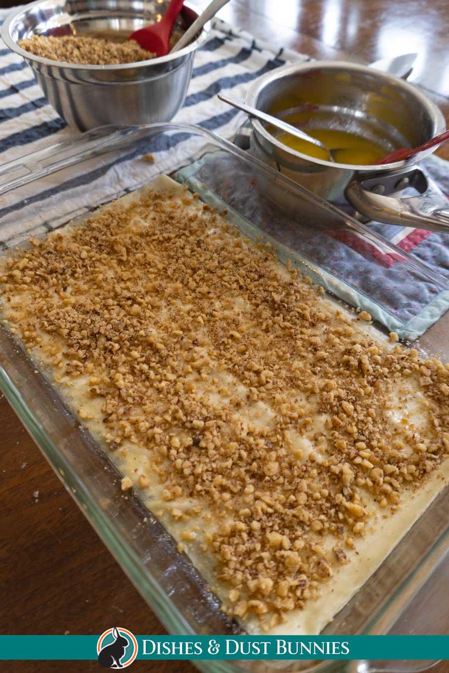 Homemade Baklava - first layer