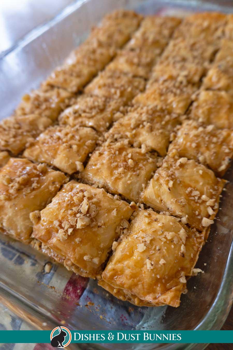 baklava in baking dish